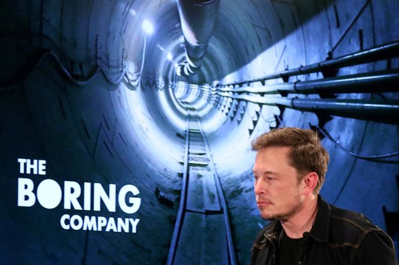 Elon Musk arrives to speak at Boring Company community meeting