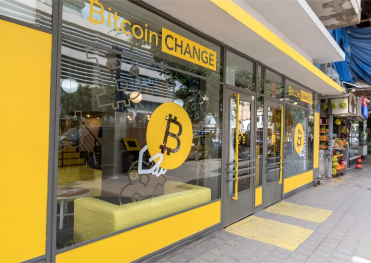 TEL AVIV, ISRAEL - 2018 FEBRUARY 7 : The bitcoin office exchange in the center of the city of Tel Aviv.