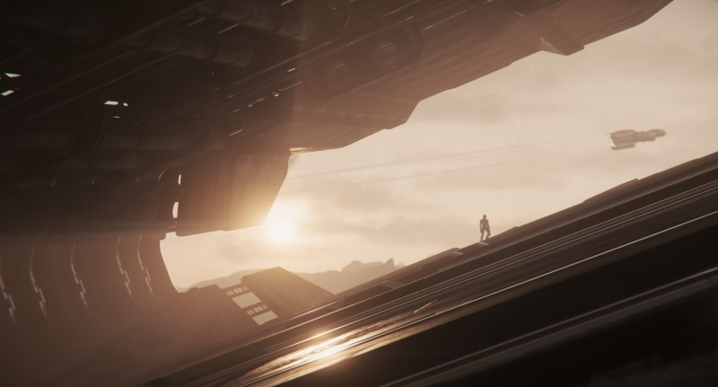 A derelict Javelin ship in Star Citizen.