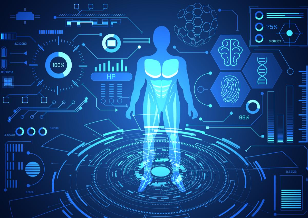 tech digital health human technology hud data science medical wellness interface background future startups concept virtual medicine shutterstock ground futuristic