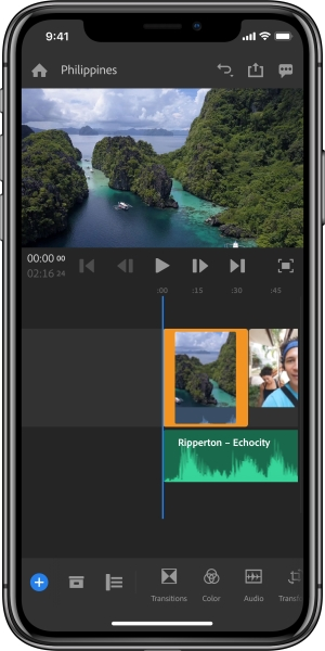 Adobe Rush iPhone X timeline