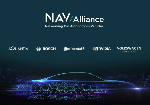 Aquantia, Bosch, Continental, Nvidia, and Volkswagen have formed the formation of the Networking for Autonomous Vehicles (NAV) Alliance.