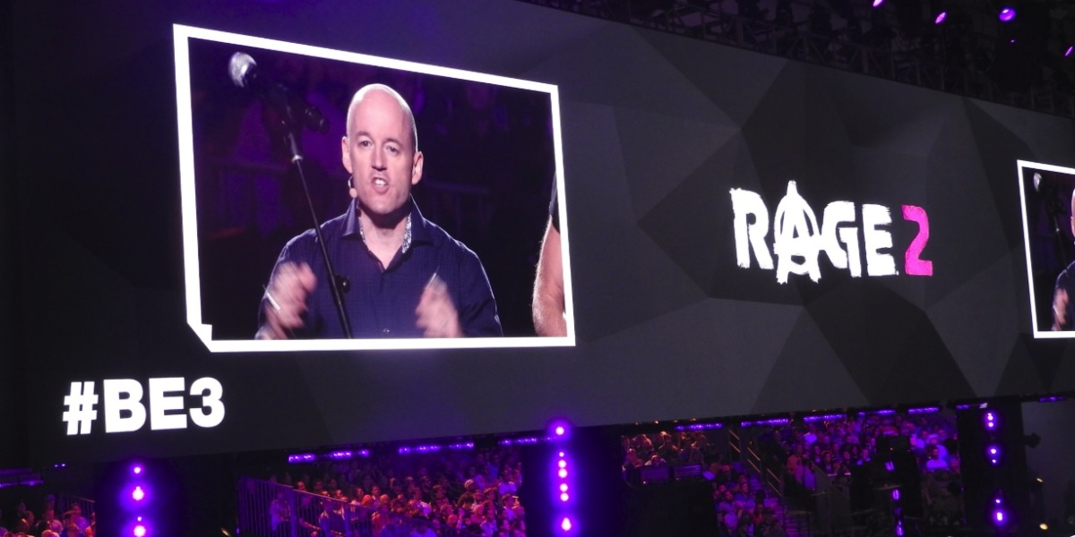 Tim Willits announces Rage 2 at Bethesda's E3 press event.
