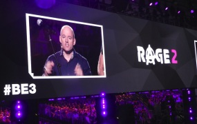 Tim Willits announces Rage 2 at Bethesda's E3 press event.