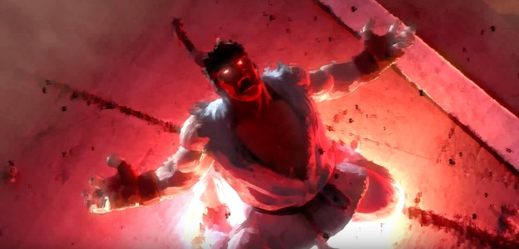 """Street Fighter's stoic hero Ryu becomes """"Evil Ryu"""" when rage overwhelms his natural balance. Street Fighter V's slow loading times and insane focus on microtransactions has enraged many people, leading a majority of the prior games' audience to stay away."""