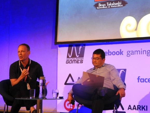 Timo Soininen (left) of Small Giant Games and Dean Takahashi of GamesBeat at Casual Connect Europe.