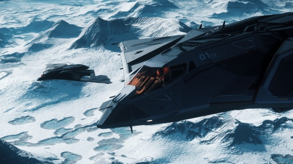 An Eclipse stealth bomber in Star Citizen.