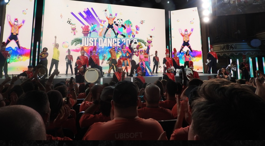 The Just Dance dancers at Ubisoft's E3 2018 press event.