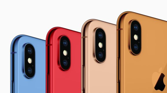 An artist's rendition shows how a glass-bodied iPhone might look in new colors.