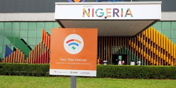 A sign is seen outside the venue of the launch of Google free wifi project in Lagos, Nigeria