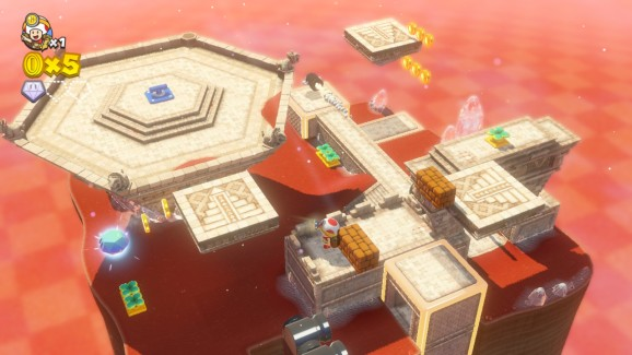 Captain Toad's levels are miniature dioramas that you rotate to locate gems and stars.