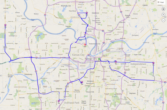 Bing Maps API route optimization