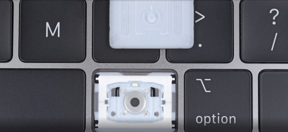 A new silicone cover is hidden inside each key of the 2018 MacBook Pro.