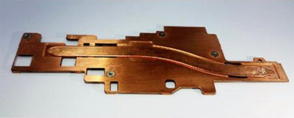 An Auras Technology copper heatsink for smartphones.