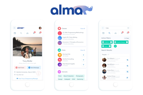 The layout of Alma Campus, a new academically-minded social network for college students