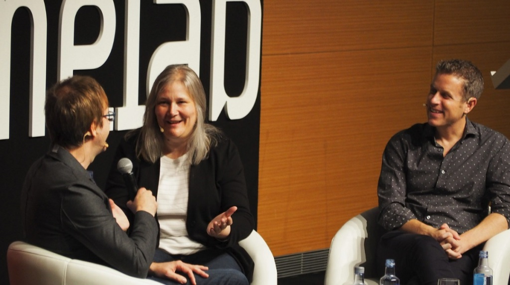Mark Cerny, Amy Hennig and Geoff Keighley at Gamelab.