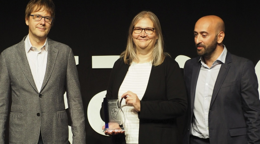 Mark Cerny (left), Amy Hennig, and Ivan Fernandez Lobo at Gamelab 2018.