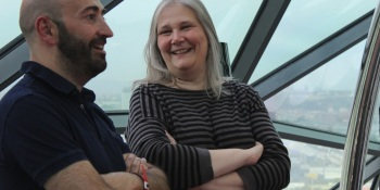 Ivan Fernandez Lobo and Amy Hennig at Gamelab reception.