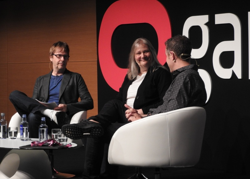 Left to right: Mark Cerny of Cerny Games, Amy Hennig, and Geoff Keighley of The Game Awards.