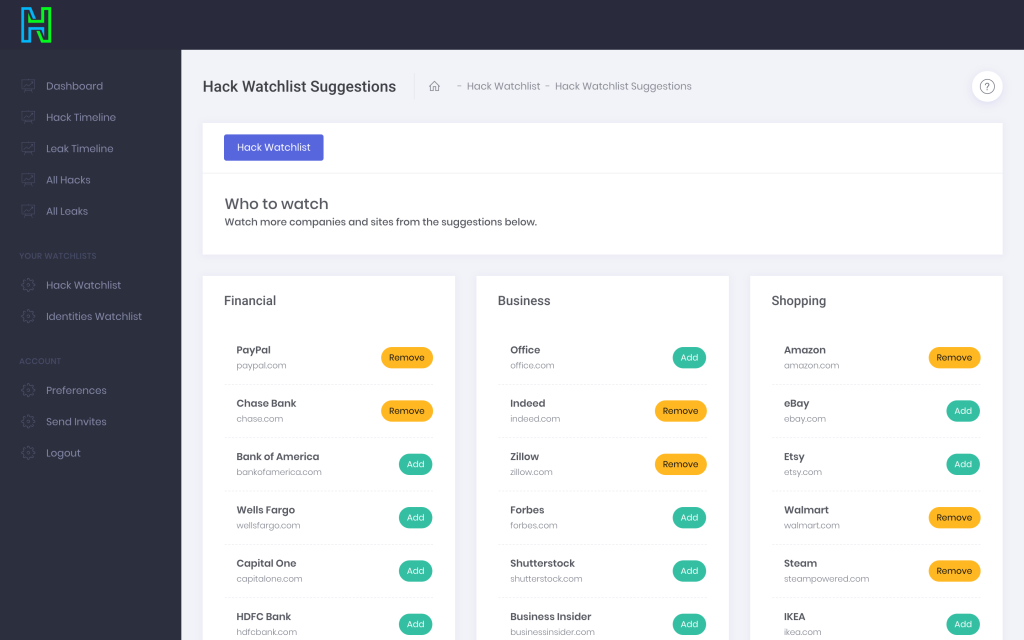 HackNotice is a free service that alerts you when your accounts have