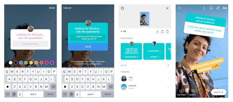 Instagram's new interactive questions sticker