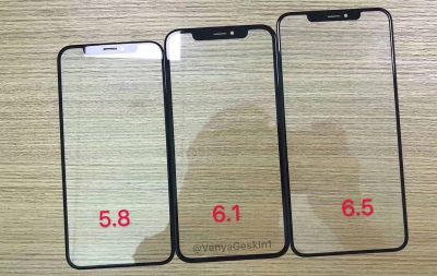 iPhone front glass leak shows identical notches on 3 models