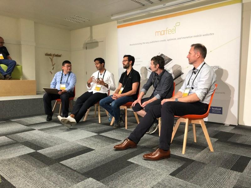 Left to right: Dean Takahashi of VentureBeat, Rithesh Menon of Good Media Group, Tony Farrelly of Farrelly Atkinson, and David Webb of Timera Media.