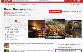 Screenshot of Yelp review with health score highlighted