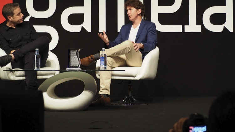 Todd Howard (right) of Bethesda speaks at Gamelab 2018 with Geoff Keighley of the Game Awards.