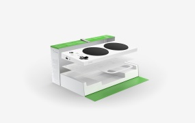 The packaging for the Xbox Adaptive Controller.