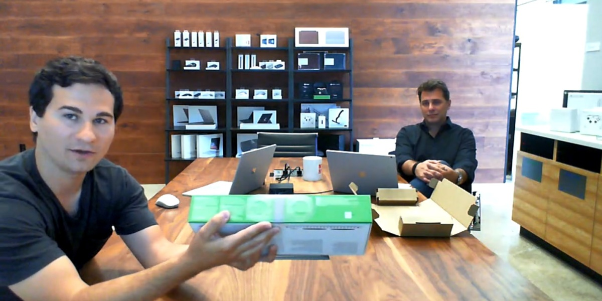 Mark Weiser and Kevin Marshall of Microsoft show the package for the Xbox Adaptive Controller.