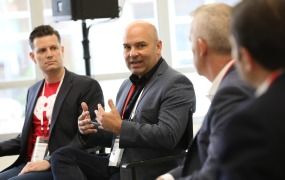 Chris Williams, CPO at iHeartMedia; Mark Young, SVP, Global Strategy & Business Development at Fandango; Zamir Lalji, Partner at McKinsey & Co.;  Jim Freeze, CMO, Interactions