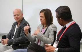 John Koetsier, Singular VP of Insights; Julie Shumaker, VP of Advertiser Solutions at Unity Technologies; Bidalgo CMO Rishi Shiva at Transform 2018