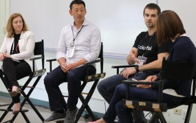 Susan Choe, Founding Partner, Katalyst Ventures; Jeff Feng, Product Lead, Data at Airbnb; and Matthew Zeiler, Founder & CEO, Clarifai; and Alix Hart, Global Head of Digital Marketing, Nvidia