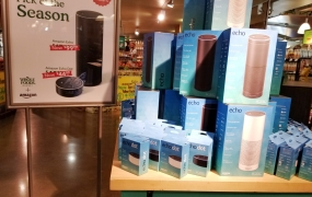 Amazon Echo smart speakers on sale at a Whole Foods in San Francisco shortly after the acquisition was approved in August 2017.