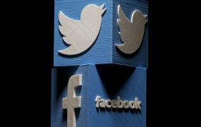 3D-printed Facebook and Twitter logos are seen in this picture illustration.