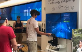 An HTC Vive VR demo at the Microsoft Store.