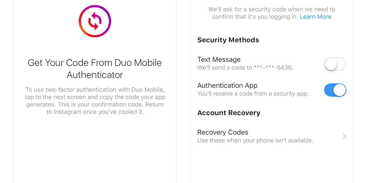 Instagram users can now enable support for an authentication app, like Duo Mobile.
