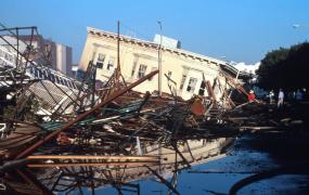 Destruction in the Marina District in San Francisco after the 1989 Loma Prieta earthquake