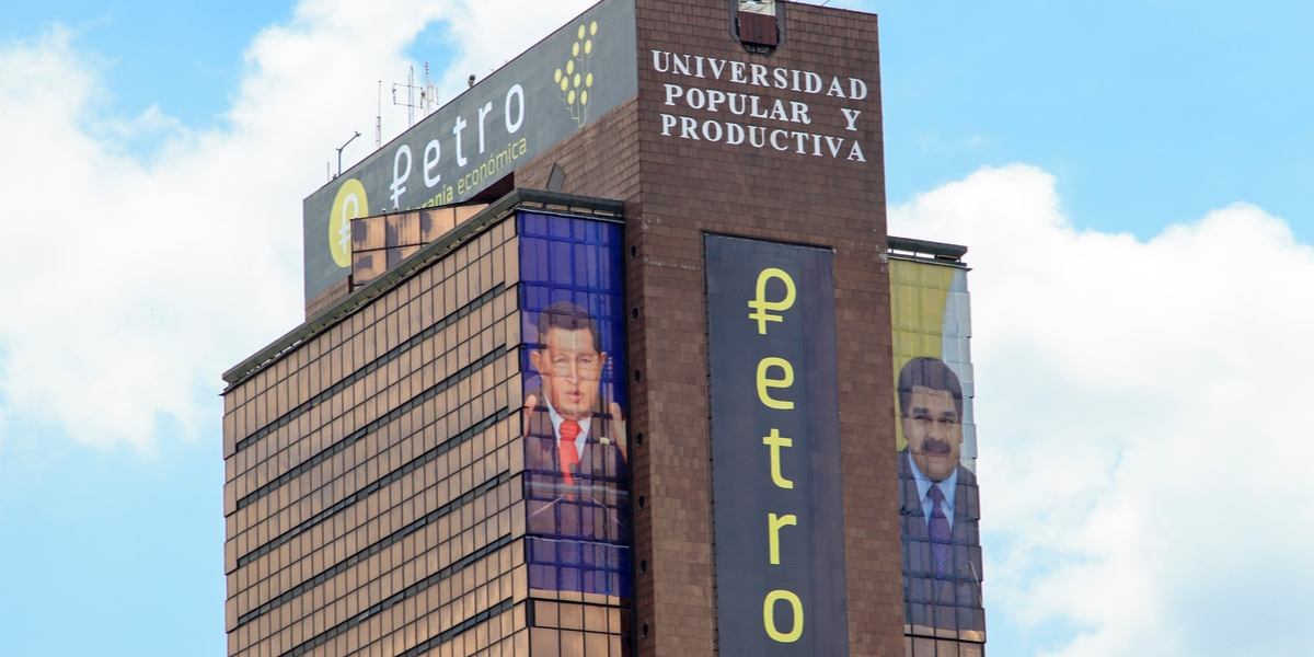 CARACAS, VENEZUELA-MAY 17, 2018: Petro sign is seen at Universidad Popular y Productiva building in city downtown. Petro, cryptocurrency developed by the government of Venezuela, was released in 2018