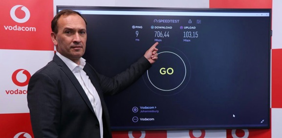 Vodacom points out its 5G network's current 706Mbps download speed and 9-millisecond latency.