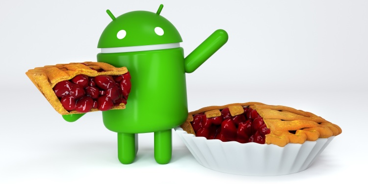 Green Android robot mascot holding a piece of Pie