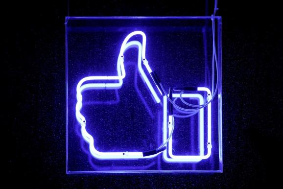 A Facebook like button is pictured at the Facebook's France headquarters in Paris, France, November 27, 2017.