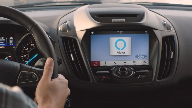 Alexa in a Ford vehicle infotainment system
