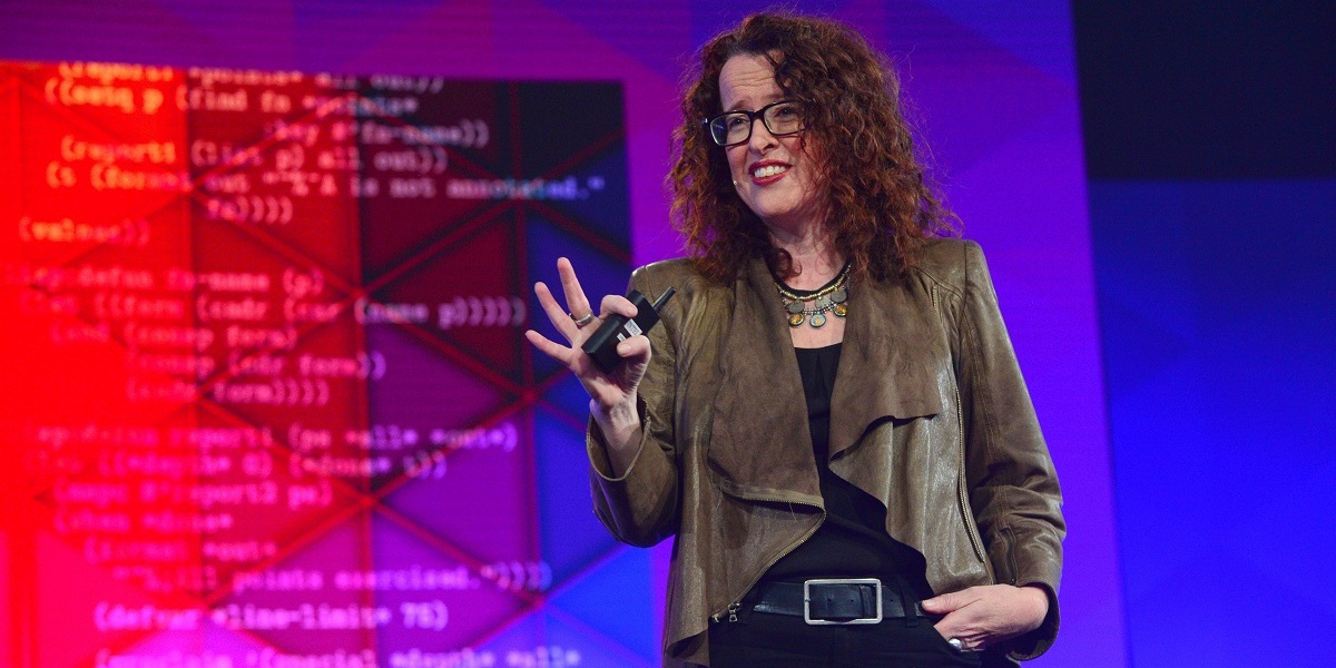 Genevieve Bell, director of the Autonomony, Agency and Assurance (3A) Institute and Intel Senior Fellow, speaks at Intel's Devcon event.