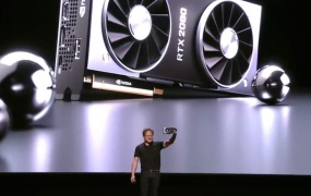 Jensen Huang shows off the Nvidia GeForce RTX 2080 Ti.
