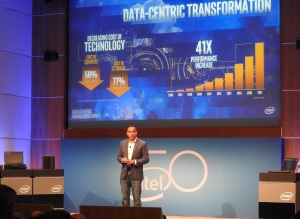 Intel executive vice president Navin Shenoy at Intel's Data Centric Innovation Summit.
