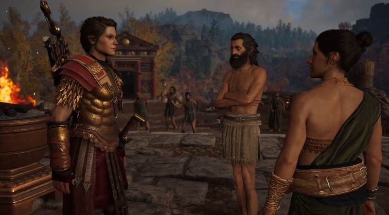 Kassandra mediates a dispute in the Writhing Dread episode.