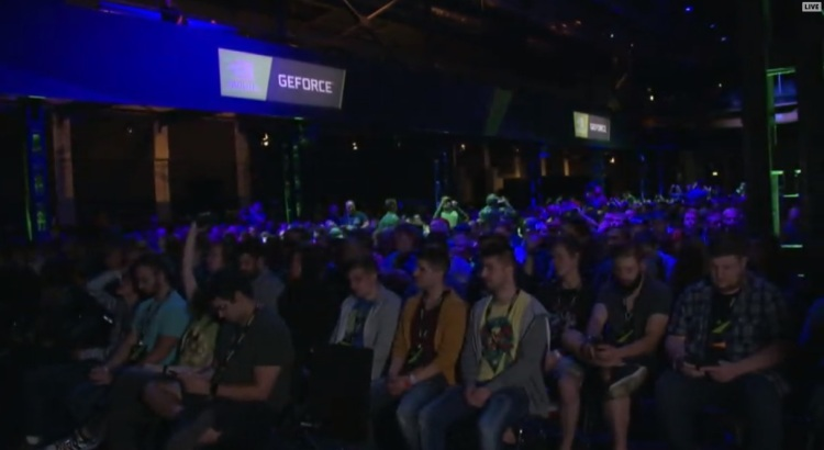 The crowd watching Nvidia's Gamescom 2018 event.