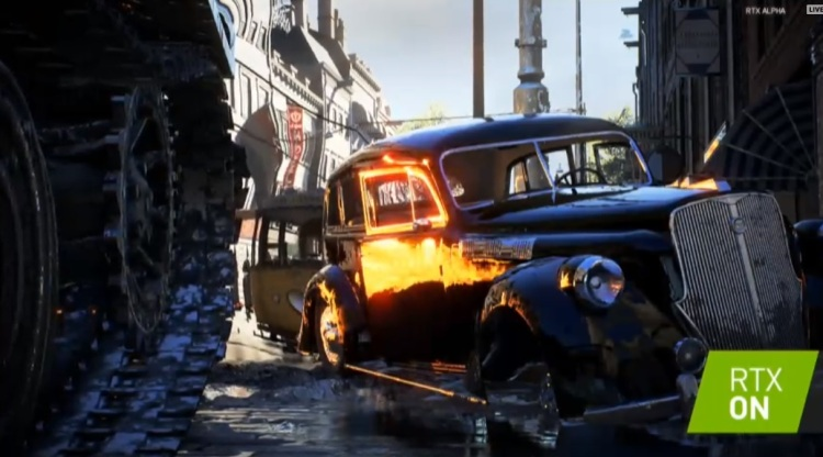 See the realistic reflection on the side of the car in Battlefield V with Nvidia RTX.